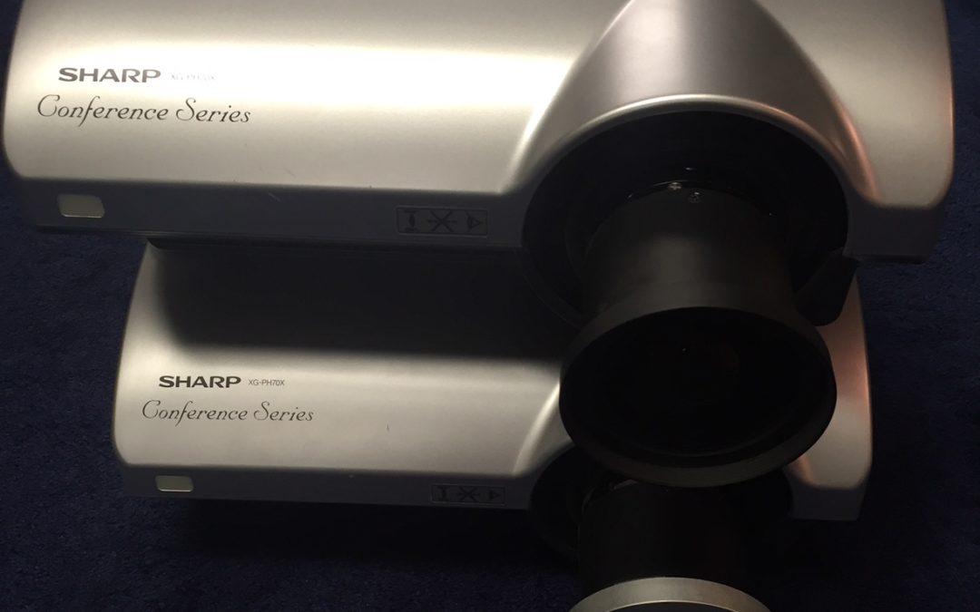 (2) Sharp XG-PH70X projectors-fixed wide lens (x 0.8)